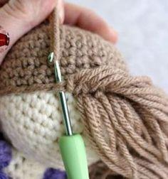 How to crochet doll hair for your amigurumi dolls (free pattern) // Babahaj készítése horgolással - horgolt paróka (ingyenes mintával) // Mindy - craft tutorial collection // #crafts #DIY #craftTutorial #tutorial #DIYToys #ToyMaking #HandmadeToy