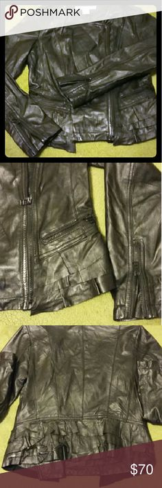 💕Leather jacket from VS Super soft leather, ruffled on bottom, all zippers and buttons intact, fully lined, most beautiful moto jacket I've ever owned rezrekshn Jackets & Coats Blazers