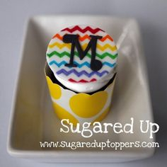 Rainbow Chevron Fondant Cupcake Toppers by Sugared Up