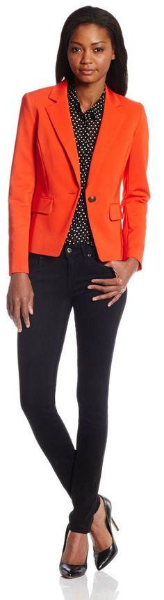 Anne Klein Women's Double Cotton 1 Button Suit Jacket