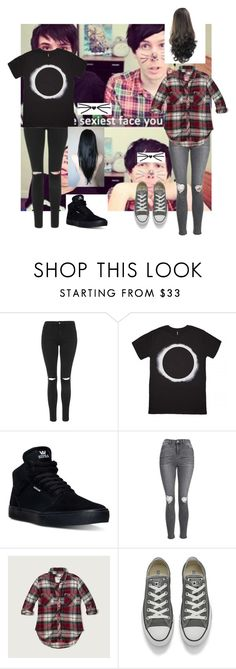 """""""female dan and phil"""" by dannidontknowshit ❤ liked on Polyvore featuring Topshop, Supra, Abercrombie & Fitch and Converse"""
