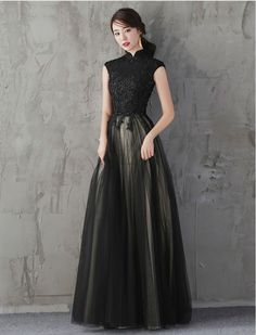 7174d5cb69882 So Smitten Elegant Mandarin Collar Evening Dress Little Black Dress プロムドレス