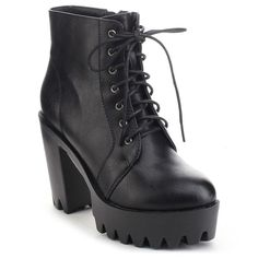 Refresh Fabia-02 Women's Lace Up Side Zip Lug Sole Platform Chunky... ($44) ❤ liked on Polyvore featuring shoes, boots, ankle booties, black, lace up chunky heel booties, black lace up booties, black ankle boots, chunky-heel boots and chunky heel bootie