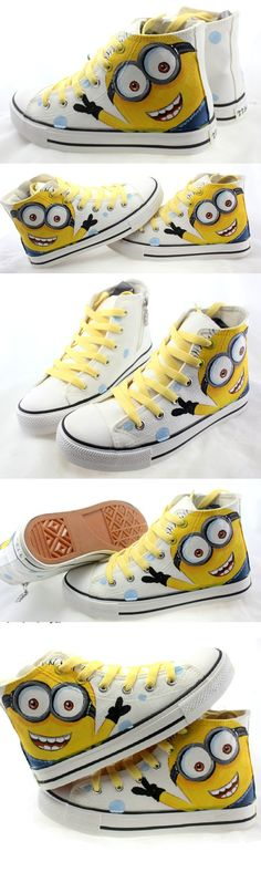 Cartoon Kids shoes 2016 New fashion Child canvas sneakers Spring Hand Print studens baby boys casual shoe girls Minions shoes