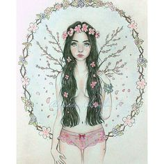 "【alejandrachamblasart】さんのInstagramをピンしています。 《""Cherry blossom girl"" #cherrytrees#cherryblossoms#instaworld#autodidact#autodidacta#sketchbooks#instaart#instaartista#instaartistic#ilustracion#illustration#artworld#artechileno#pencil#prismacolor#prismacolors#mywork#mylife#myart》"