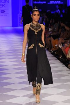 ANITA DONGRE Black embroidered jacket with pants