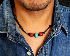 Tribal Style Black Leather Choker Necklace for Men, Women, Unisex - Blue Magnesite & Red Jasper Stone Accent - Handcrafted in USA $32.95 +