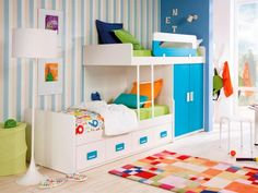 Customisable Staggered Bunk Beds with Wardrobe and Drawers  - Unusual staggered bunk beds with your choice of colours