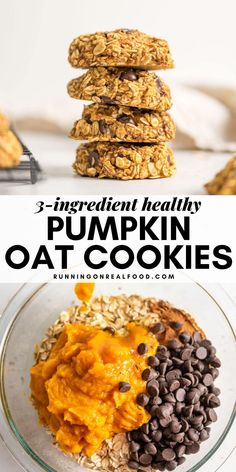 While very tasty and satisfying these healthy pumpkin oat cookies are more of a simple nutritious snack than decadent dessert. Add the chocolate chips for a sweeter yummier treat! Healthy Cookies, Healthy Baking, Healthy Desserts, Delicious Desserts, Yummy Food, Tasty, Healthy Food, Healthy Gluten Free Snacks, Low Fat Cookies