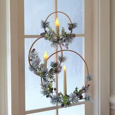 Make these easy Christmas Wreaths with Candles for your holiday decor