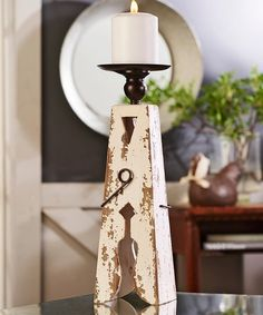15 Clothes Pin Wood & Iron Candle Holder | zulily