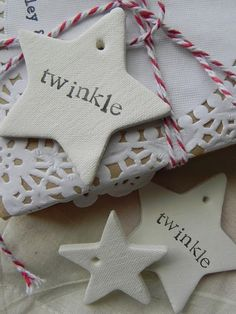 linen textured clay star ornaments