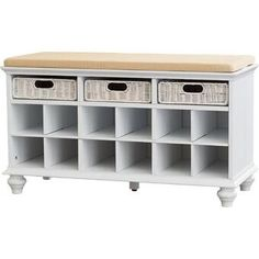 Darby Home Co Traditional 6 Pair Shoe Storage Bench Finish: White Shoe Cubby Storage, Bench With Shoe Storage, Upholstered Storage Bench, Wall Storage, Storage Cabinets, Shoe Bench, Storage Benches, Shoe Rack Wayfair, Stackable Shoe Rack
