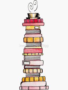 'Pink Lemonade Book Stack' Sticker by Emma Mildred Riggle - - A stack of pink-lemonade flavored books. Bullet Journal Art, Bullet Journal Ideas Pages, Bullet Journal Inspiration, Book Journal, Creative Bookmarks, Diy Bookmarks, Ribbon Bookmarks, Doodle Books, Doodle Art