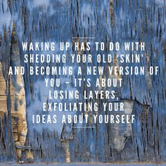 """Waking up has to do with shedding your old skin and becoming a new version of you - it's about losing layers exfoliating your ideas about yourself.""  #BecomingAConsciousLeader ConsciousLeadership  #WakeUp"