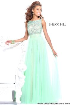 Sherri Hill 11022 Sheer Tank Beaded Prom Dress