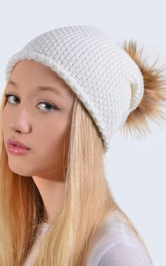 4292ed38c66 Merino Wool Ivory Slouch Hat With Brown Faux Fur Pom Pom By Amelia Jane  London