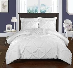 Whitley Pinch Pleated & Ruffled Duvet Cover Set 8 Piece (Queen) White - Chic Home Design King Duvet Cover Sets, Bed Duvet Covers, Comforter Sets, King Comforter, Ruffle Duvet, Bed In A Bag, Queen Duvet, White Bedding, Luxury Bedding