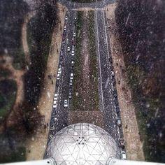 Snowy Atomium at Brussels, Belgium