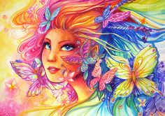 Lady Butterfly Fantasy Artwork rainbow butterflies by Sakuems