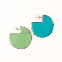 'Enfold' earrings - round Turquoise & green (double sided so that the same colour faces outwards) vitreous enamel, copper & sterling Silver Vitreous Enamel, Round Earrings, Copper, Faces, Victoria, Turquoise, Jewellery, Sterling Silver, Green