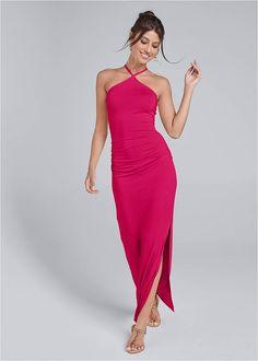 Halter Neck Maxi Dress,Hoop Earrings,Rhinestone Thong Sandal Halter Neck Maxi Dress, Belted Dress, Formal Dress Shops, Formal Dresses, Latest Fashion For Women, Womens Fashion, Venus Swimwear, Mix And Match Bikini, Dress Stand