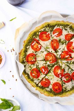 Pesto Pizza with Roma Tomatoes.  The perfect pesto pizza topped with fresh roma tomatoes!  Great for dinner or lunch!  {gluten free, vegan}