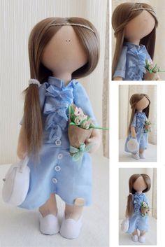 Doll in blue Teen doll Handmade doll Fabric doll Tilda doll Soft doll Cloth doll Baby doll Rag doll Interior doll Textile doll