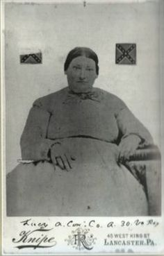 Lucy Ann White Cox (approx 1827-1891).  Born in Fredericksburg and buried in the Confederate Cemetery in Fredericksburg, Cox was a daughter of the regiment during the American Civil War.  She joined her husband's regiment, Company A of the 30th Virginia Infantry, in an unofficial capacity as cook, laundress, and nurse.