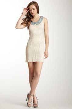 Sleeveless Contrast Eyelet Collar Dress by Gracia on @HauteLook