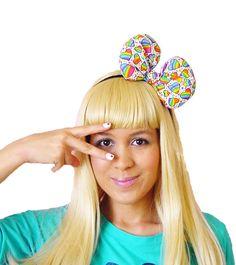 Rainbow bow headband rainbow hair bow rainbow por JuicyBows en Etsy, $16,00
