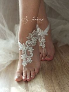 Free Ship Beach wedding barefoot sandals Beach shoes door ByVIVIENN