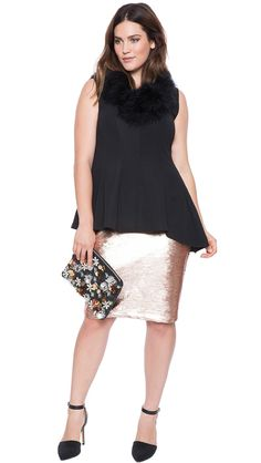 Plus Size Sequin Pencil Skirt