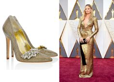 Margot Robbie lit up the red carpet in a gold Tom Ford gown with a plunge neckline, which was reminiscent of an Oscar itself! She also dazzled in Forevermark Diamonds. We think our gold 'Chrysler' heels with Swarovski detailing were made to complete this outfit! www.freyarose.com