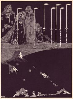 Harry Clarke's hauntingly beautiful and beautifully haunting 1919 illustrations for Edgar Allan Poe's Tales of Mystery and Imagination — a collection of 29 of Poe's tales of the magical and the macabre.