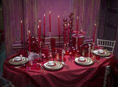 Table boules noel rouges