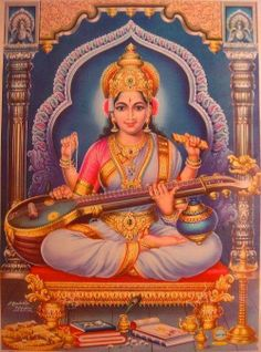 Saraswati is the goddess of music, wisdom, art, culture, science and education. May she inspire you! Divine Goddess, Kali Goddess, Indian Goddess, Mother Goddess, Shiva Hindu, Hindu Deities, Hinduism, Saraswati Goddess, Saraswati Mata