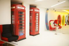 7 Amazing Google Offices Around the World- London  has recycled red phone booths called Googleboxes! They have bean bags chairs in them make for comfy private phone calls!