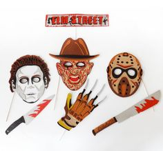 Items similar to Halloween Photo Booth Party props Inspired by the halloween villans on Etsy Halloween Photo Booth Props, Photo Booth Party Props, Halloween Photos, Halloween Ideas, Ronald Mcdonald, Inspired, Handmade Gifts, Fictional Characters, Vintage