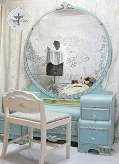 SOLD - Gorgeous Waterfall Art Deco Vanity Dresser with Bench - Shabby Chic Style featuring Intricate Carvings & Large Round Mirror Decor, Waterfall Art Deco, Shabby Chic Dresser, Redo Furniture, Art Deco Vanity, Deco Furniture, Vintage Dressing Tables, Colorful Furniture, Art Deco Dressing Table