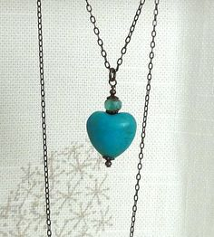 Turquoise Heart Necklace  Turquoise puffed by baublesbybethann, $18.50