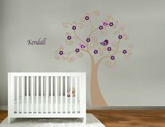 Kids vinyl wall decal Tree with flowers birds and FREE childs name cute for a girls nursery. $79.00, via Etsy.
