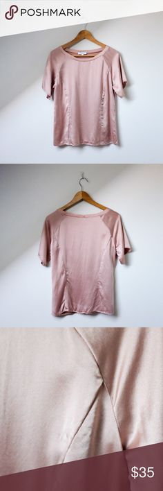 Blush pink Emerson Fry silk satin shirt Emerson Fry silk top. Non stretch. Lovely rose colored silk satin. Short raglan seamed sleeves. Princess seams in front and back. Emerson Fry makes beautiful and timeless clothing. Good used condition, could use a press. Emerson Fry Tops Blouses