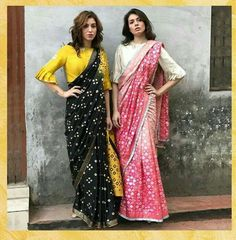 Blacknyellow and pinknwhite both are beautiful Saree for summer. Saree Blouse Neck Designs, Fancy Blouse Designs, Saree Blouse Patterns, Designer Blouse Patterns, Latest Blouse Designs, Indian Blouse Designs, Trendy Sarees, Stylish Sarees, Fancy Sarees