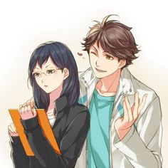 shimizu and oikawa. Anime Fr, Moe Anime, Anime Love, Anime Guys, Haikyuu Ships, Haikyuu Fanart, Haikyuu Anime, Oikawa Tooru, Haikyuu Karasuno