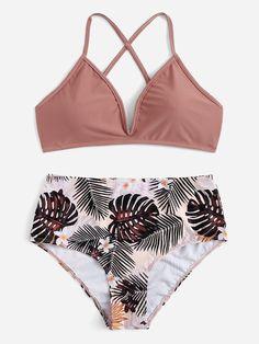 Criss Cross V-Wired Random Tropical Bikini Swimsuit Summer Bathing Suits, Cute Bathing Suits, Bikinis Lindos, Criss Cross Top, Bikini Outfits, Cute Swimsuits, Summer Bikinis, Bikini Swimwear, Bikini Top