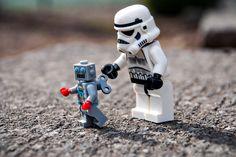 LEGO: Little Stormtrooper plays with his new robot toy, Lego Star Wars, Star Wars Stormtrooper, Star Wars Art, Darth Vader, Star Trek, Star Destroyer, Obi Wan, Star Wars Figure, Lego Humor