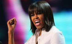 First Lady Michelle Obama jokingly says a mid-life crisis is what inspired her new haircut with bangs. Michelle Obama, Haircuts With Bangs, New Haircuts, Barack Obama, Rap, Malia And Sasha, Hip Hop Albums, Famous Faces, Hair Cuts
