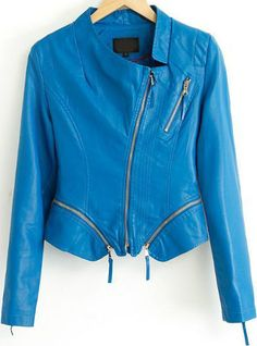 Blue Long Sleeve Oblique Zipper Crop Jacket 42.67
