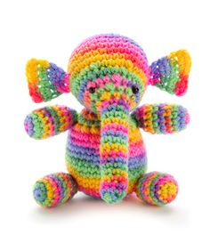 It's hard to say who will have the most fun— you, as you crochet this colorful elephant, or the kid who owns it. It's just the right size for little hands to carry on any adventure!